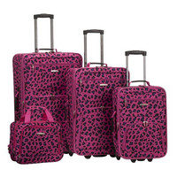 4 Pc Magenta Leopard Luggage Set