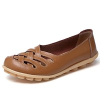 Fashion Genuine Leather Casual Loafers Shoes Women Sandals Summer Shoes Flats with Hollow Out