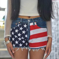 Vintage Levi's 501 reworked USA flag high waisted shorts from Working Class Hero Vtg