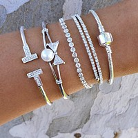 Pearled Bow Bracelet Stack