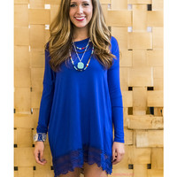 SZ LARGE Game Changer Royal Blue Lace Trim Solid Dress