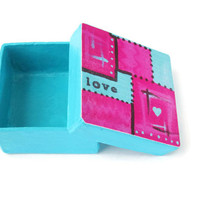 Mini Gift Box in turquoise and bright pink, decoupaged lid abstract love art, trinket box, tiny square box, decorative box