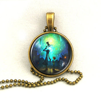 10% SALE Necklace Halloween Mr Light Trick or Treat Pendant with Chain Necklaces Gift