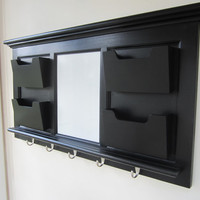 Black Wall Mail Organizer Magnetic Whiteboard with 5 Hooks, 4 Mail Slots Boxes, Wall Storage