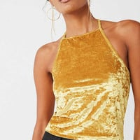 UO Hallie High-Neck Velvet Top | Urban Outfitters