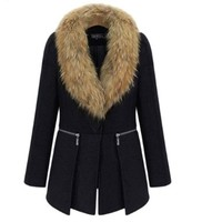Teenloveme Women's Fold-Down Faux Fur Collar Woolen Outerwear Coat