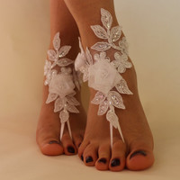 FREE SHİPP White Lace Barefoot Sandals, Wedding Anklet,NudeShoes, Foot Jewelry,Beach Wedding Barefoot Sandals ,Bridal Anklet