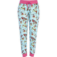 River Island Womens Blue Mickey Mouse Christmas print joggers