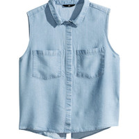 H&M - Lyocell Blouse - Light blue - Ladies
