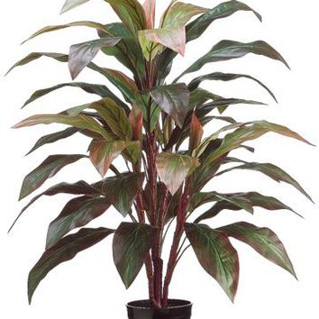 """Red Artificial Potted Cordyline Palm Floor House Plant - 40"""" Tall"""