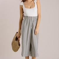 Shelby Navy Striped Culotte Pants
