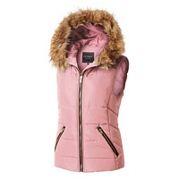 Fully Lined Quilted Puffer Sleeveless Vest with Faux Fur Hoodie (CLEARANCE)