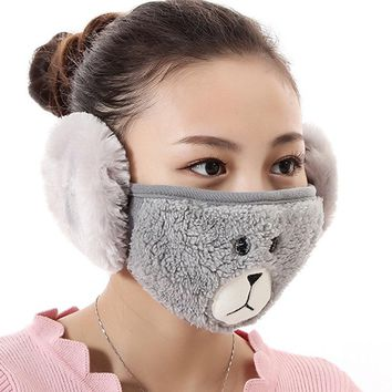 New 1 Pc Cotton Health Cycling Anti-Dust Mouth Face Unisex  Masks With Earmuffs   Warm Winter Fashion Accessory