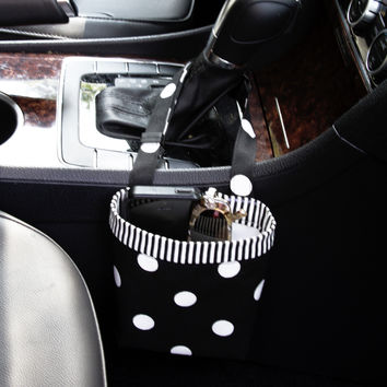 Car Cellphone Caddy ~ Black Polka Dots ~ Striped Band ~ Center Console Handle