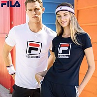 FILA Summer Popular Men Women Casual Print Couple Short Sleeve T-Shirt Top