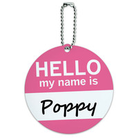 Poppy Hello My Name Is Round ID Card Luggage Tag
