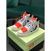 OF OFF-WHITE OFF WHITE Men's Leather Fashion High Top Sneakers Shoes