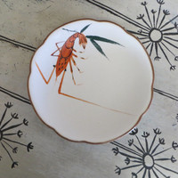 Hand Painted Shrimp Dish Serving Dish Appetizer Plate Hand Painted Plate Serving Bowl Seafood Platter Candy Dish Glazed Pottery