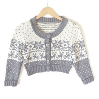 Gray Cropped Nordic Ski Ugly Christmas Sweater