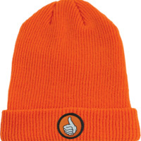 Bro Style Thumb Patch Cuff Beanie Orange