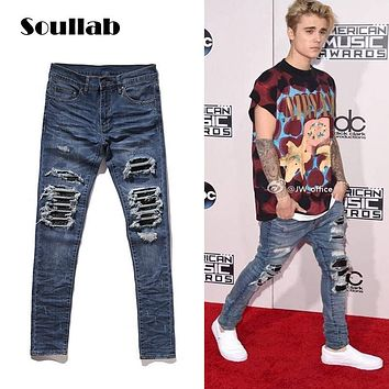 SOULLAB high quality AMIRI MX1 brand design mens bottoms ripped destroyed denim biker jeans navy black swag street fashion hype