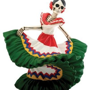 Dancing Senorita Green Dress Statue, Day of the Dead Skull 5.5H