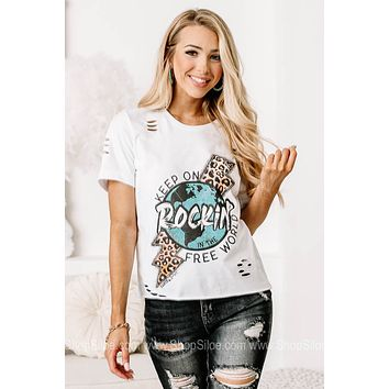 Keep On Rockin' In The Free World Cropped Graphic Tee