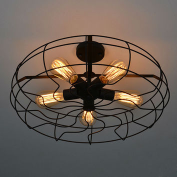 Vintage Ceiling Lights American Country Retro Style 5PCS*E27 AC110V/220V Fan Shape Lamp Dining-room Industrial Lighting