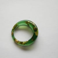 Green jade gold flakes resin ring, gold leaf, gold foil, cocktail ring, metallic flakes resin ring, green resin ring, chunky resin ring