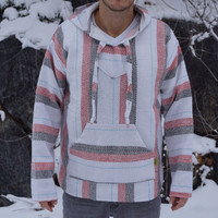 Baja Hoodie - Drug Rug Mexican Threads Poncho Jacket Hippie Pullover - White/Red/Grey