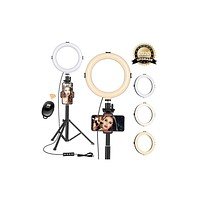 """8"""" Ring Light with Tripod Stand - Dimmable Selfie Ring Light LED Camera Ringlight with Tripod and Phone Holder for Live Stream/Makeup/YouTube Video, Compatible for iPhone Android, Remote(Upgraded)"""