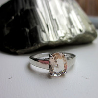 Sterling morganite ring sterling silver morganite ring solitaire morganite sterling clad ring clearance