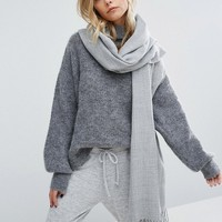 Pieces Woven Herringbone Scarf with Tassels in Light Grey at asos.com