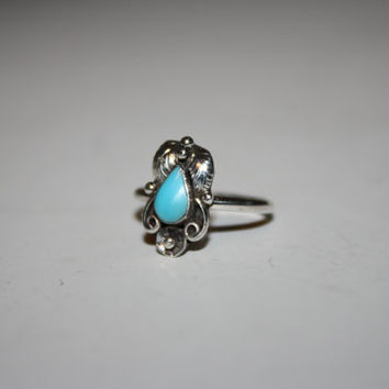 Tiny Turquoise and Sterling Vintage Ring Size 3.75 - free ship US