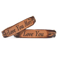 Love You & Love You More Leather Bracelets (Pair)
