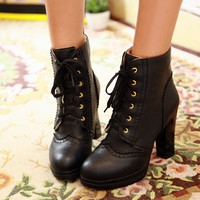 Lace Up Winter Women Ankle Boots Platform High Heels Shoes Woman 2016 3385