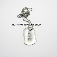 BDSM Necklace, Master, Stainless Steel Dog Tag on Stainless Steel Ball Chain , Dominant Jewelry, Fetish Wear