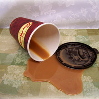 Fake Spilled Cup of Timmys Coffee With Cream Fun Prop Gag