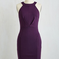 Mid-length Sleeveless Sheath Anniversary Allure Dress in Plum