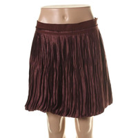 Theory Womens Dawnie Silk Pleated Bubble Skirt