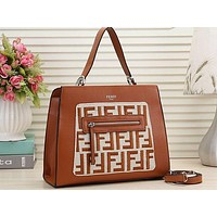 Fendi Printed Shopping Bag Single Shoulder Bag Brown