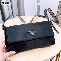 Prada Fashion New Leather Handbag Shoulder Bag Women Black
