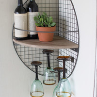 Wire & Recycled Wood Wall Corner Shelf