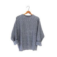Slouchy Speckled Gray Boyfriend Sweater Basic Cotton Marled Pullover Nerd Grandpa Chunky Knit Grey Sweater Mens Medium Large