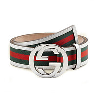 Gucci GG Web Leather Belt with Interlocking G Buckle 114984 8624 (white) (32)