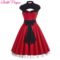 Womens summer dresses 2017 summer new styles Hollowed Large Bow-Knot Retro Vintage Party Pin up Swing Polka Dot Rockabilly Dress