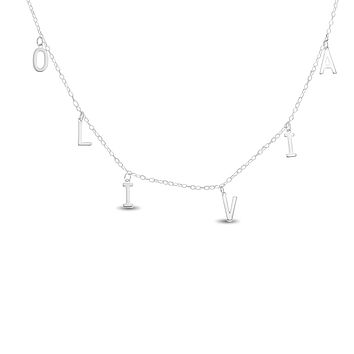 NAME LETTER CHARM CHOKER/NECKLACE - STERLING SILVER 925