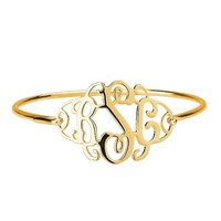 Gold Over Silver Monogram Bangle