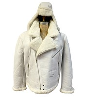 Jakewood - Shearling & Cow Racing Aviator Jacket