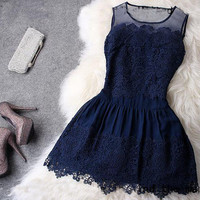 Blue hollow out hook skirt / retro style dress